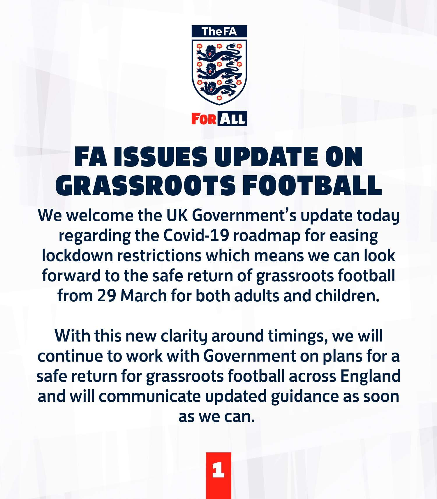 Return of Grassroots football from March 29th 2021